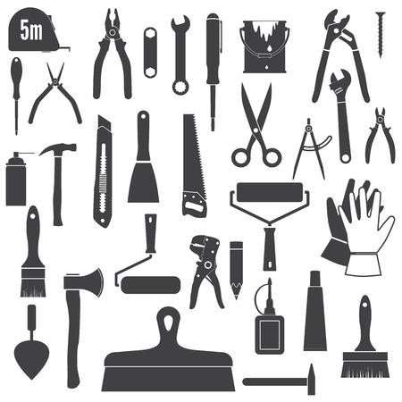 Herramientas iconos, herramienta de reparación. Herramientas de mano conjunto, siluetas. Iconos negros aislados en el fondo blanco Ilustración de vector