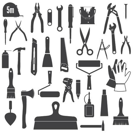 herramientas de mecánica: Herramientas iconos, herramienta de reparación. Herramientas de mano conjunto, siluetas. Iconos negros aislados en el fondo blanco