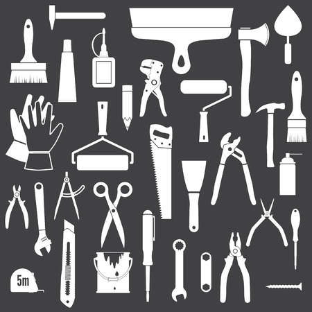 tools icon: Tools Icons. Tools Icons. White icons isolated on a black background.