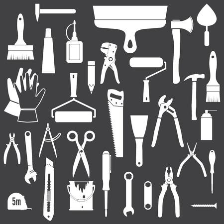 Werkzeuge Icons. Werkzeuge Icons. Weiß-Symbole isoliert auf einem schwarzen Hintergrund.