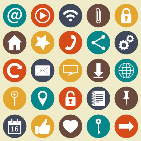 media buttons: Social media icons. Web and mobile app.   White icons in colored circles. Vector  illustration Illustration