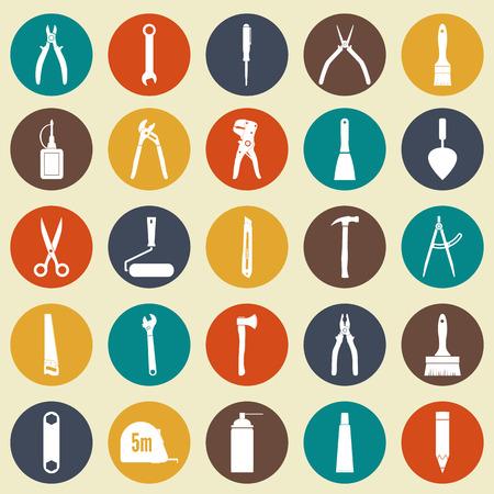 herramientas de trabajo: Iconos de las herramientas. herramientas de trabajo. conjunto de iconos blancos de reparación y construcción en los círculos de colores, aislado. Puede ser utilizado para aplicaciones web y móviles. Ilustración vectorial Vectores