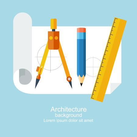 design drawing: Drawing tools. Architecture, design, building, planning. can be used for education and school. Ruler, pencil, paper, drawing compass. Modern flat style, vector illustration