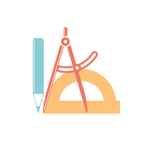 instrumentation: engineer designer  logo, work of architect. technical tool: compass, protractor, pencil. modern style, vector illustration.