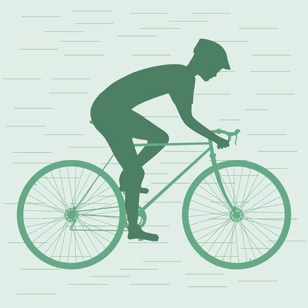cyclist silhouette: Cyclist silhouette, man on racing bike. isolated. Vector illustration Illustration