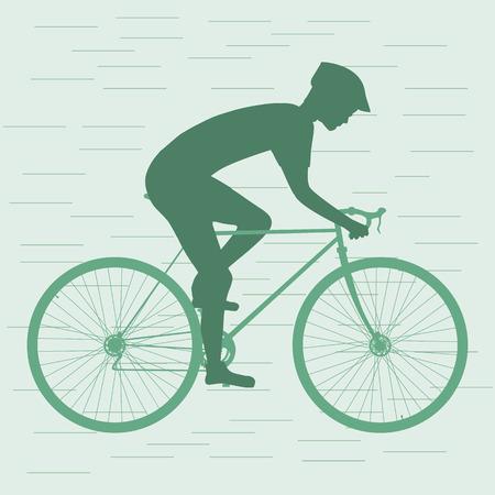 racing bike: Cyclist silhouette, man on racing bike. isolated. Vector illustration Illustration