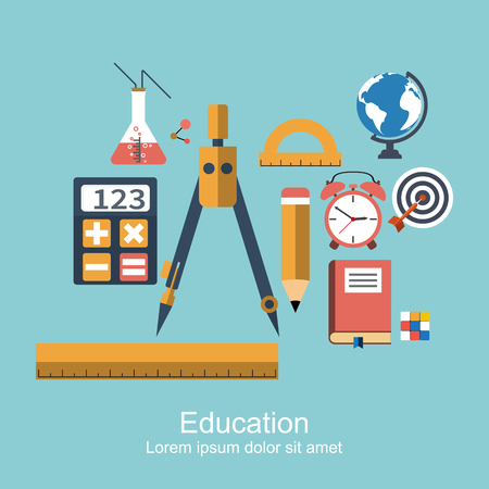 higher education: education and knowledge. set of icons flat, modern design, concept for web and apps. symbol and object  for schools, higher education, training, e-learning. vector illustration