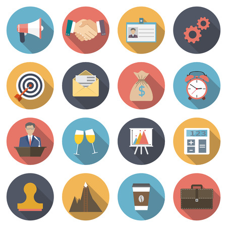 Icons negotiations, business meetings, company's work, cooperation, deal, celebration, conference, success, money. Modern flat  design, element concept. vector illustration