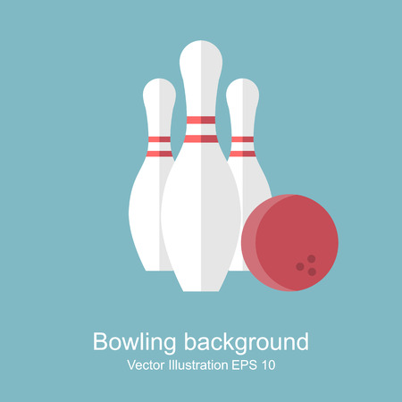 skittle: Bowling. skittle and ball. abstract background. Game, entertainment, sports. vector illustration, flat style.
