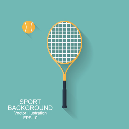 Tennis racket and ball isolated on white background. icon with long shadow. Big tennis. sport background. flat style, vector illustration.