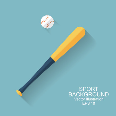 bat and ball: baseball bat, ball, icon with long shadow. sport baseball background. flat style, vector illustration