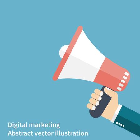 trompeta: megáfono mano. promoción y publicidad. icono de estilo plano. Publicidad digital. Concepto de negocio. ilustración vectorial