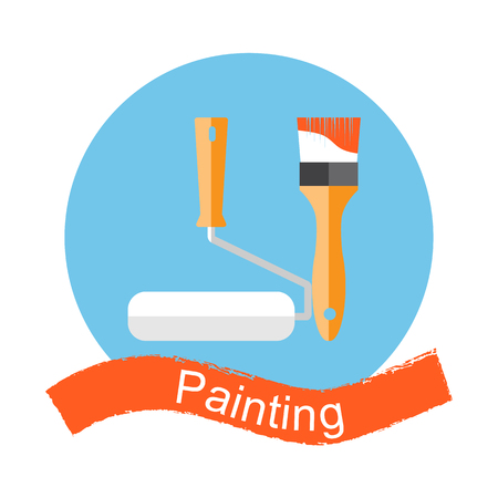 painting on the wall: Brush and paint roller. Painting, repairing, restoration, renovating. Painting work. Painting tool symbol. Logo.