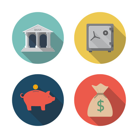 storing: Icons storing money. Modern flat design. bank, safe, moneybox, pig, bag.  Vector illustration. Design elements for mobile and web applications. Vector illustration