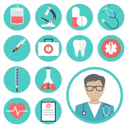 医療のアイコン。医療機器、ツール。カラフルなテンプレート web およびモバイル アプリケーション。フラットなデザイン。健康と治療。近代的な