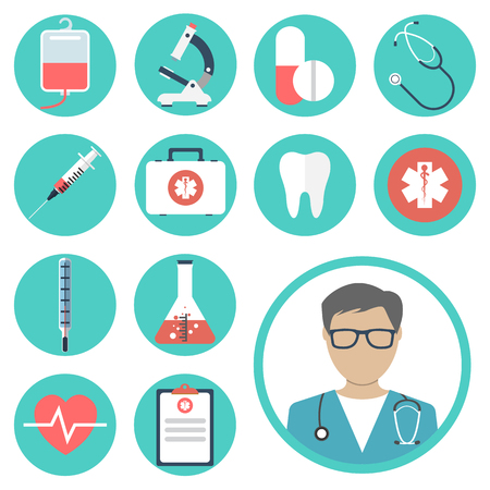 medical icons. medical equipments, tools. colorful template web and mobile applications. flat design. health and treatment. modern concept, vector illustration Çizim