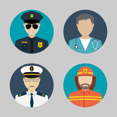 fireman: Profession people. flat avatars. sailor, policeman, fireman, doctor. for web and mobile app. vector illustrations