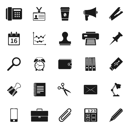 computer equipment: Office icons. elements business and marketing. Collection icons isolated on white background. Vector illustration