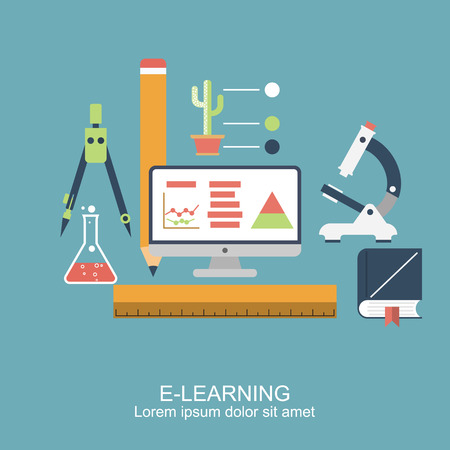 learning concept: E-learning. concept education, online education, online learning, distance training. pattern, poster for web banners, advertising and printed materials. Icons flat style. vector illustration
