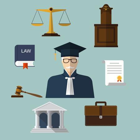 justiz: Law icons. Set Elemente und Symbole Recht und Gerechtigkeit. Modernes Design Vektor-Illustration Flach Symbol.