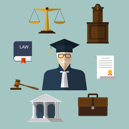 justice legal: Law icons. Set of elements and symbols law and justice. Modern design vector illustration flat icon. Illustration