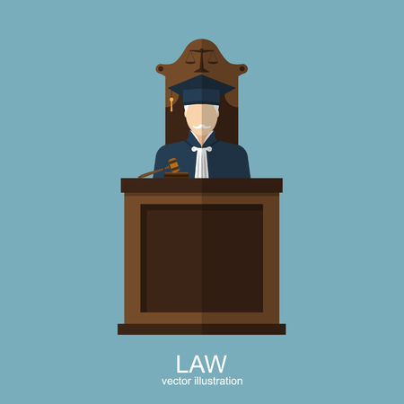 Judge. Symbol of law and justice. flat style design. vector illustration 矢量图像
