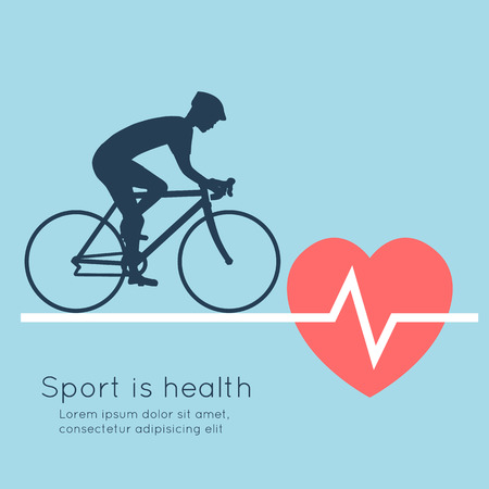 heartbeat: Sport is health. Cycling, heartbeat. Abstract vector illustration. Illustration