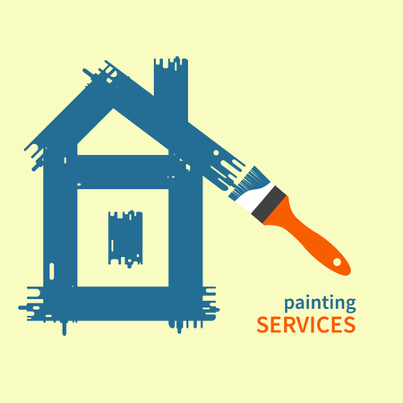 restoration: Brush. House painted paint.  Painting, repairing, restoration, renovating. Painting services. Vector logo template