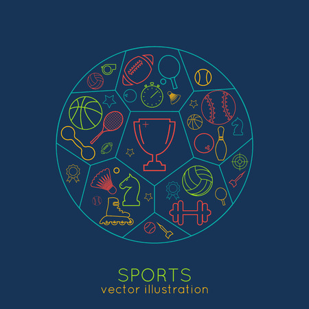 sports background: icons sports line. thin line of colored icons. logo. vector illustration