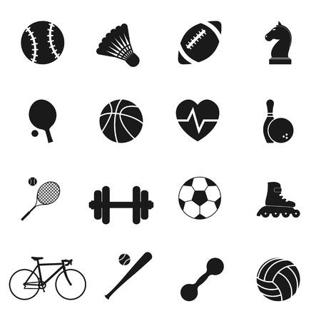 balones deportivos: Establecer deportes iconos negros. Ilustración vectorial