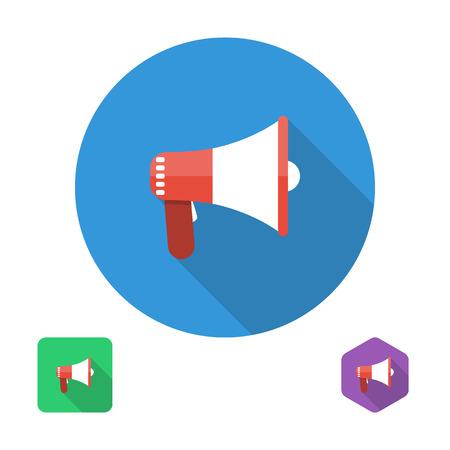 alerta: el icono del meg�fono. ilustraci�n vectorial en el elemento de dise�o de estilo plano para aplicaciones web y m�viles