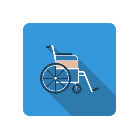 paralyze: Wheelchair icon. Flat design with long shadow. Medical icon.Vector illustration