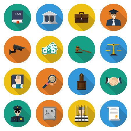 legal document: Iconos de la ley. Conjunto de elementos y s�mbolos de la ley y la justicia. Ejemplo moderno dise�o vectorial icono plana