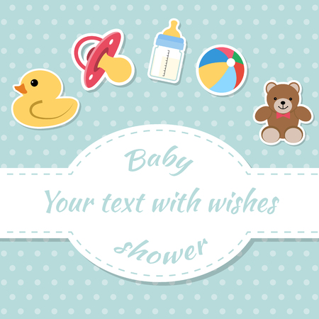 baby toys: Baby shower invitation card. Place for text.  Greeting cards.