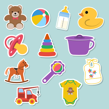 application icons: Baby icons stickers. for web and mobile applications. vector illustration Illustration