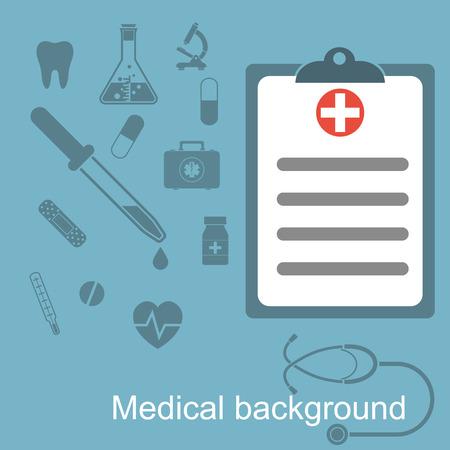 medical report: Medical report, medical background. Clipboard. Vector illustration