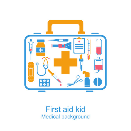 medical equipment: First aid kit box concept medical equipment and medications. healthcare. Vector illustration