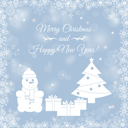 fake christmas tree: Abstract background with snowflakes, snowman with a gift and a Christmas tree. Template, poster, postcards for New Year, Christmas. Vector illustration. Illustration