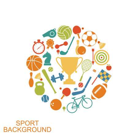 mobile accessories: Sport concept. Set icons of sports equipment and accessories. Web, mobile applications and printing. Vector illustration sport background.