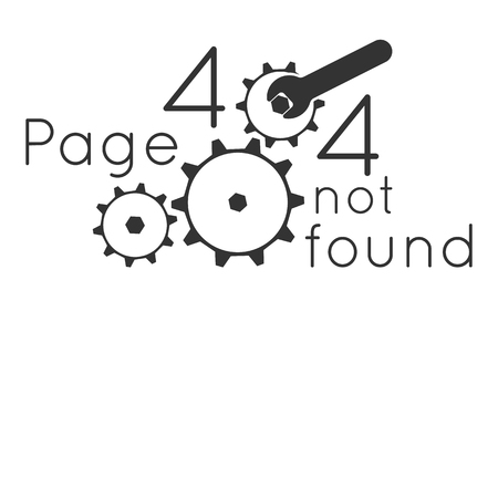 Page not found Error 404. Key repair gear. Vector illustration Illustration
