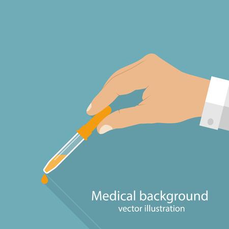 flu shot: Pipette in hands doctor. Flu and cold season. Flat design vector illustration.