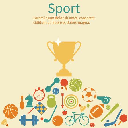 winner: los deportes de fondo con la taza ganador y los iconos. Ilustración del vector en estilo plano. Imprimir web y aplicación móvil.