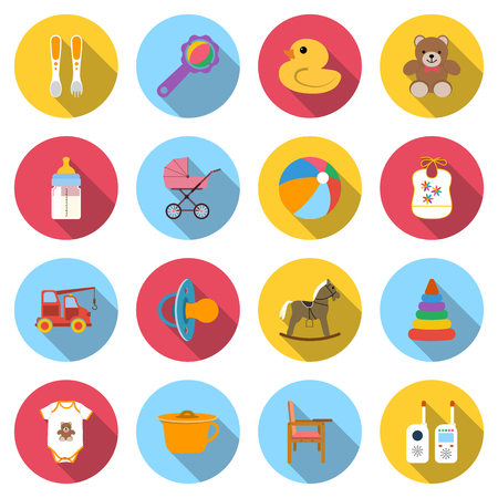 child care: Baby icons. Set colored icons of toys and child care articles. Icons vector illustration in flat design with long shadow.