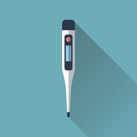 digital thermometer: medical thermometer. Digital thermometer isolated with long shadow. Flat design, vector illustration Illustration