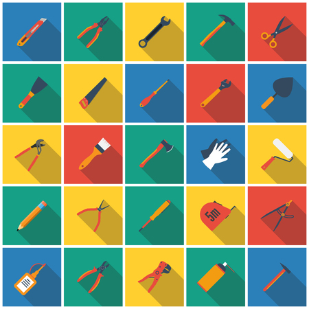 hand tool: construction tool icon. Set icons hand tools flat style with long shadow. vector illustration. for web and mobile applications