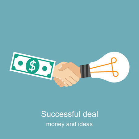 business deal: Exchange light bulb idea and money. Business deal, meeting, handshake. Vector illustration