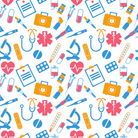 Medicine seamless pattern. Items of medical equipment icons. Medical background. Vector Illustration
