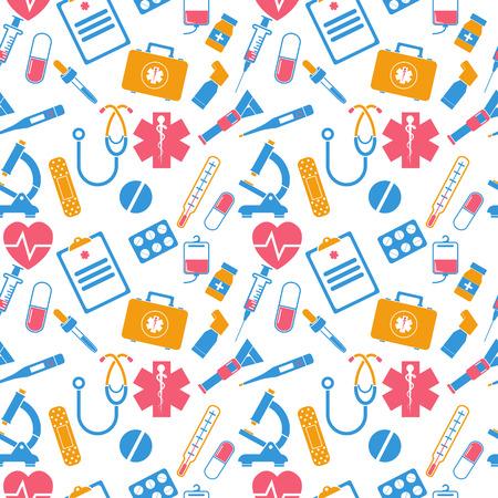 medical equipment: Medicine seamless pattern. Items of medical equipment icons. Medical background. Vector Illustration
