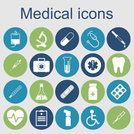 medische pictogrammen. medische apparatuur, gereedschappen. gezondheid en behandelconcept. vector illustratie