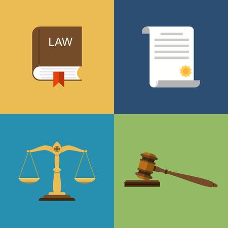 Stel pictogrammen recht en rechtvaardigheid. Schalen van rechtvaardigheid, hamer, boek en juridische documenten. Vector illustratie plat design. Stock Illustratie